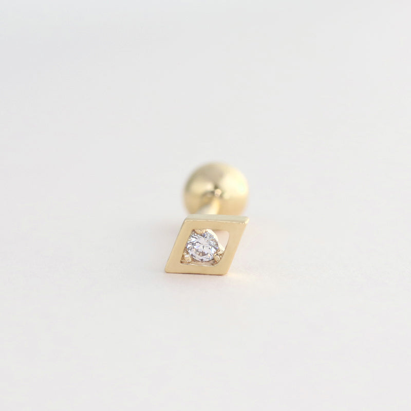 Diamond Shape Cartilage Piercing- 14K Gold