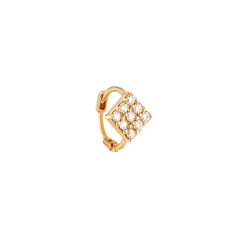 Small Pave Diamond Shape Huggie Hoop- 14K Gold