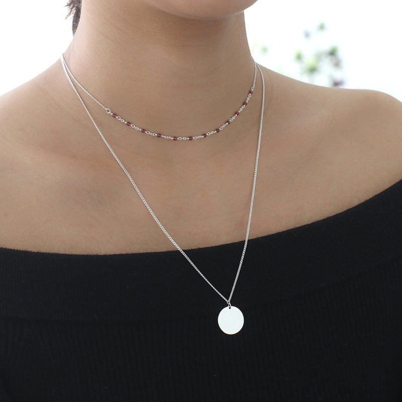 Disc Necklace- Sterling Silver