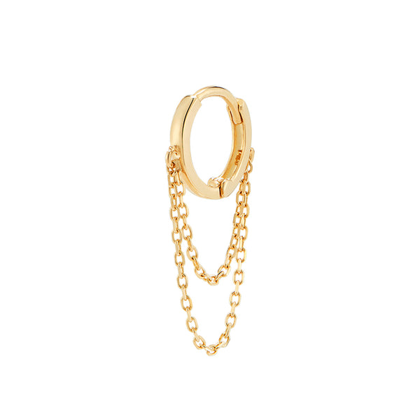 Double Chain Huggie Hoop- 14K Gold