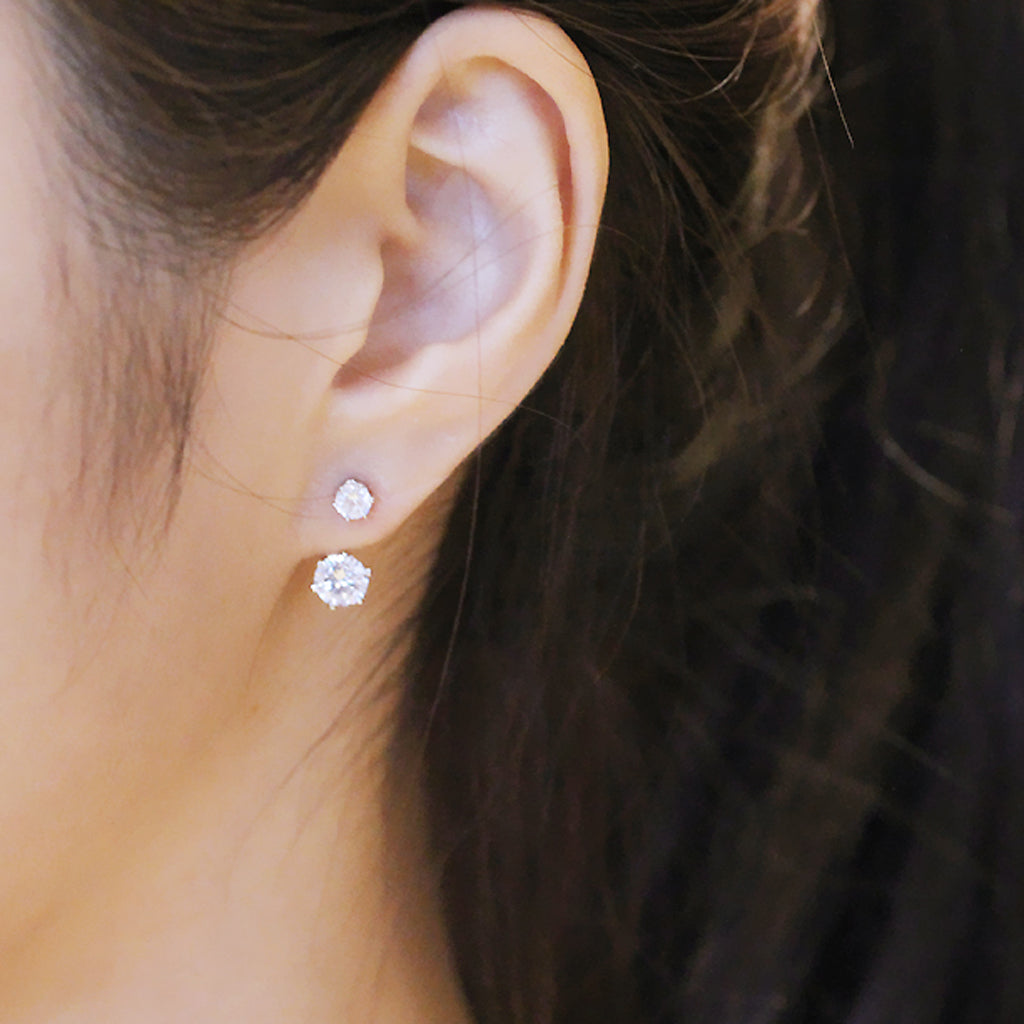 Simple CZ Ear Jacket Earrings in Silver and Gold