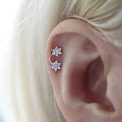 Double Flower Cartilage Stud Earring