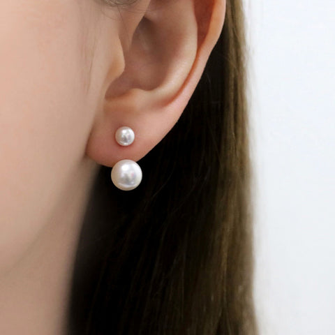 Double Pearl Ear Jacket Earrings