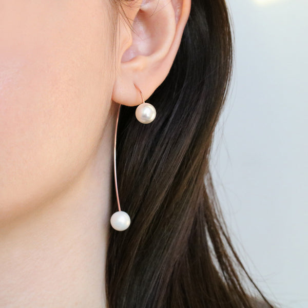 Pearl Arc Threader Earrings- Sterling Silver