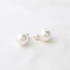 Pearl Ball Front and Back Earrings