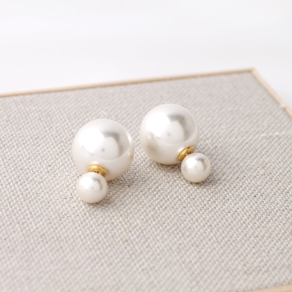 Double Pearl Front Back Stud Earrings