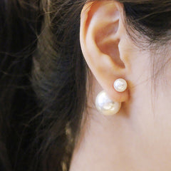 Double Pearl Ball Stud Earrings
