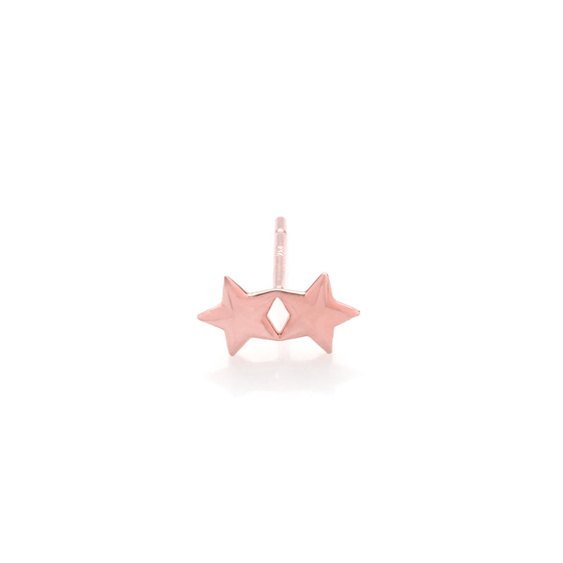 double star stud earring in 14k rose gold