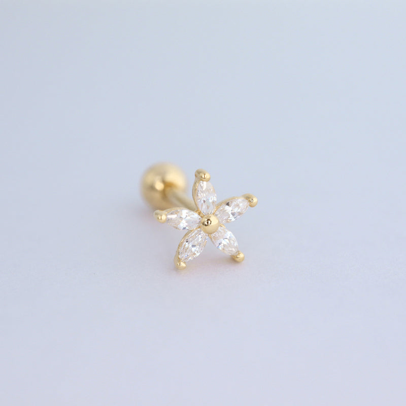 Marquise Flower Cartilage Piercing- Sterling Silver