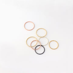 thin faceted 1mm rings in silver, gold, rose gold and black