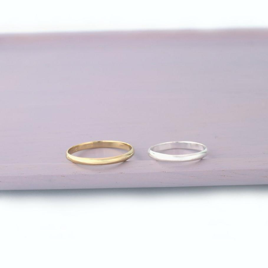 simple 2mm band rings made from sterling silver