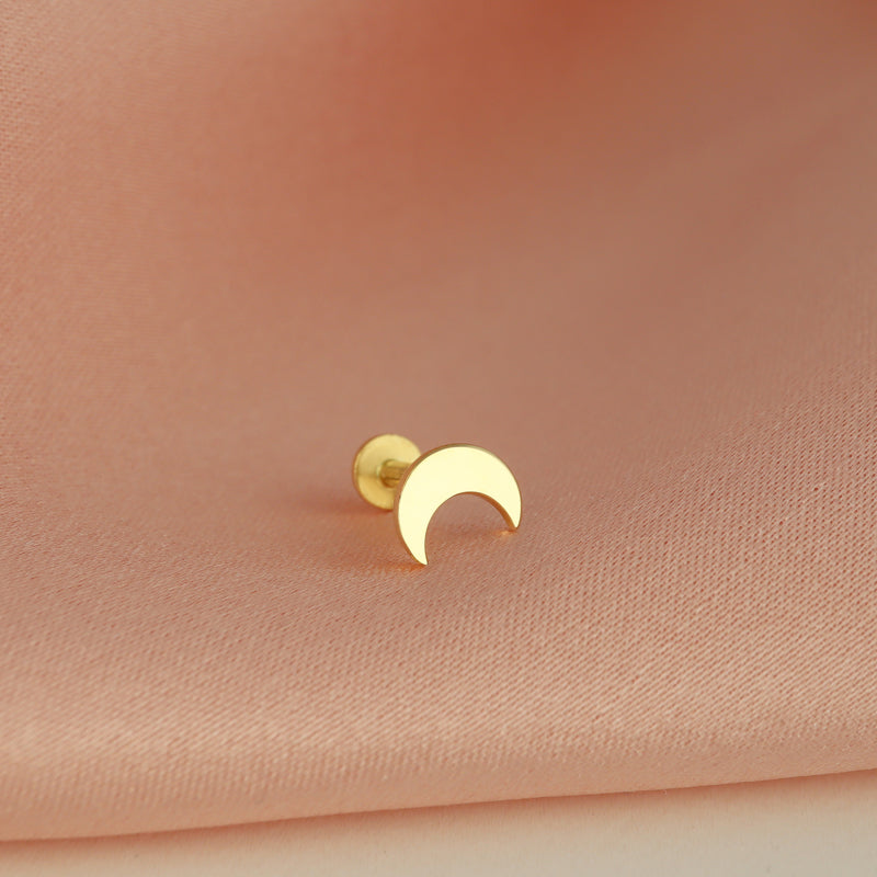 Crescent Moon Cartilage Labret Piercing- 14K Gold