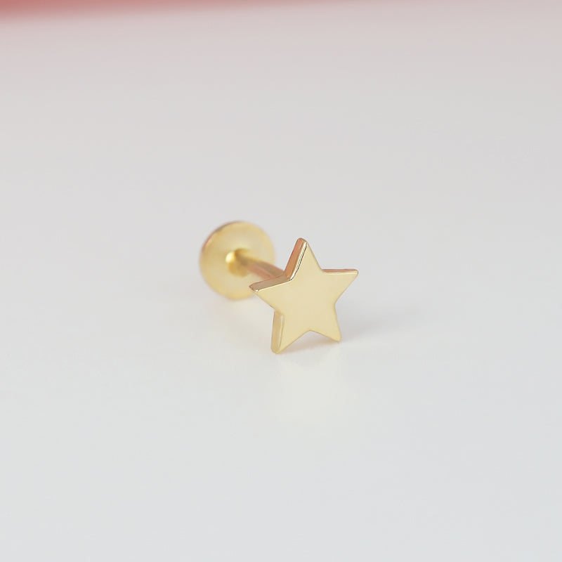 Plain Star Labret Piercing- 14K Gold