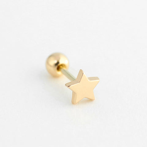Flat Star Stud- 10K Gold