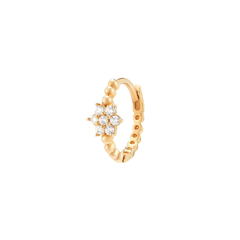 Flower Beaded Huggie Hoop- 14K Gold