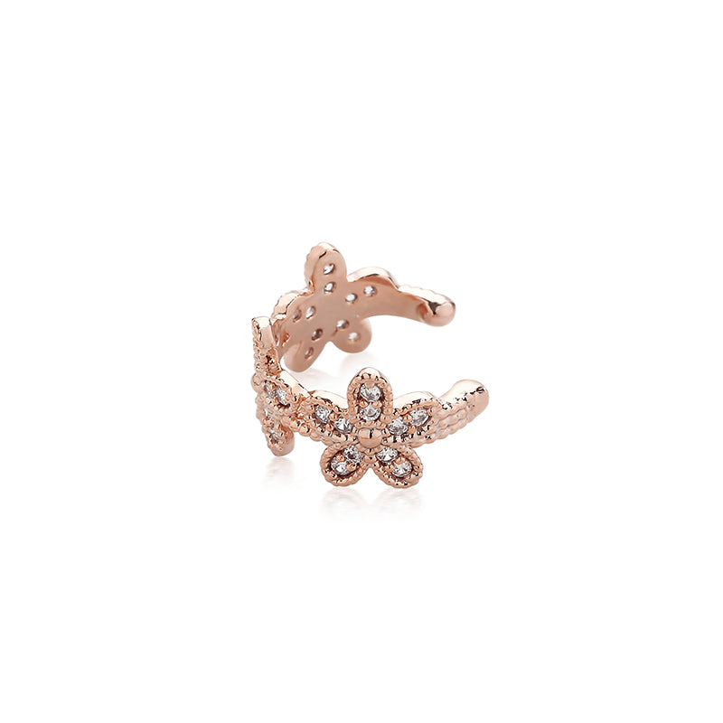 flower ear cuff earring in rose gold
