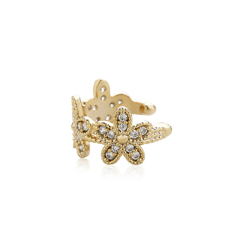 triple flower ear cuff earring