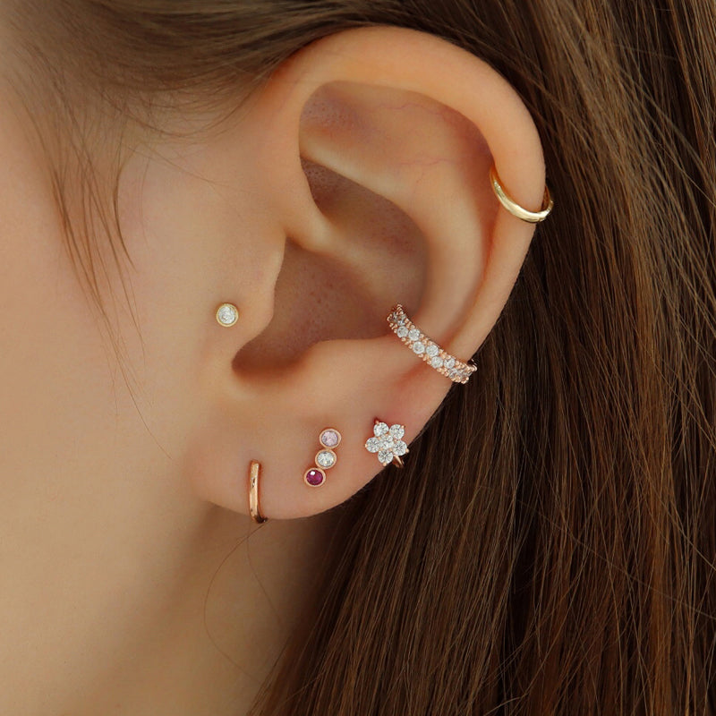 Triple Mix Bezel Stud Ear Piercing- 14K Gold