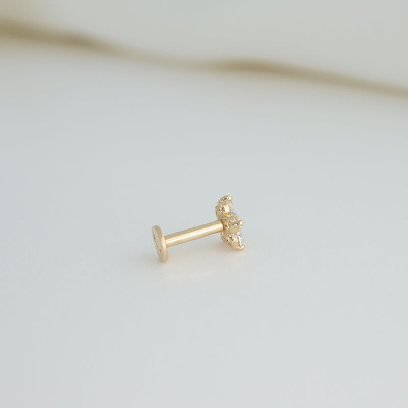Tiny Flower Labret Piercing- 14K Gold
