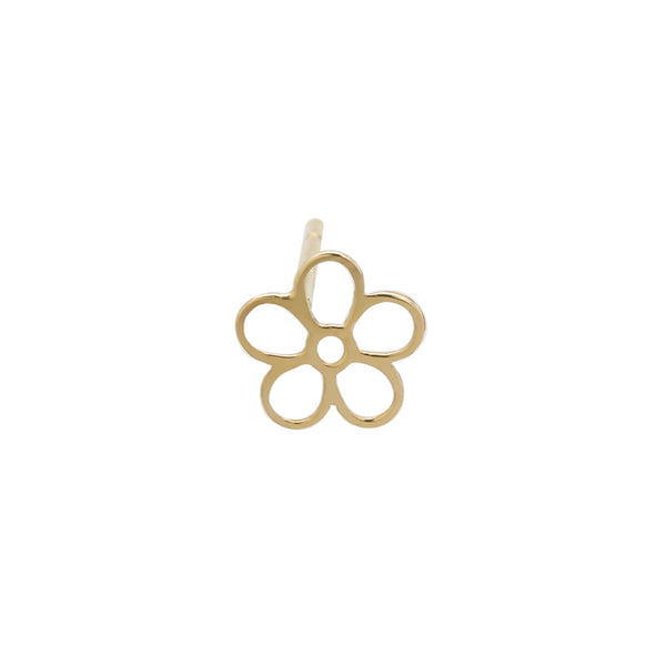 Line Flower Stud- 14K Gold