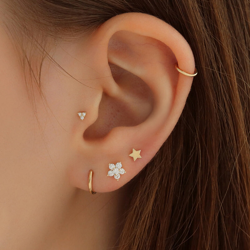 Dazzle Flower Ear Piercing- 14K Gold