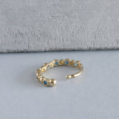 Gem Beaded Huggie Hoop- 14K Gold