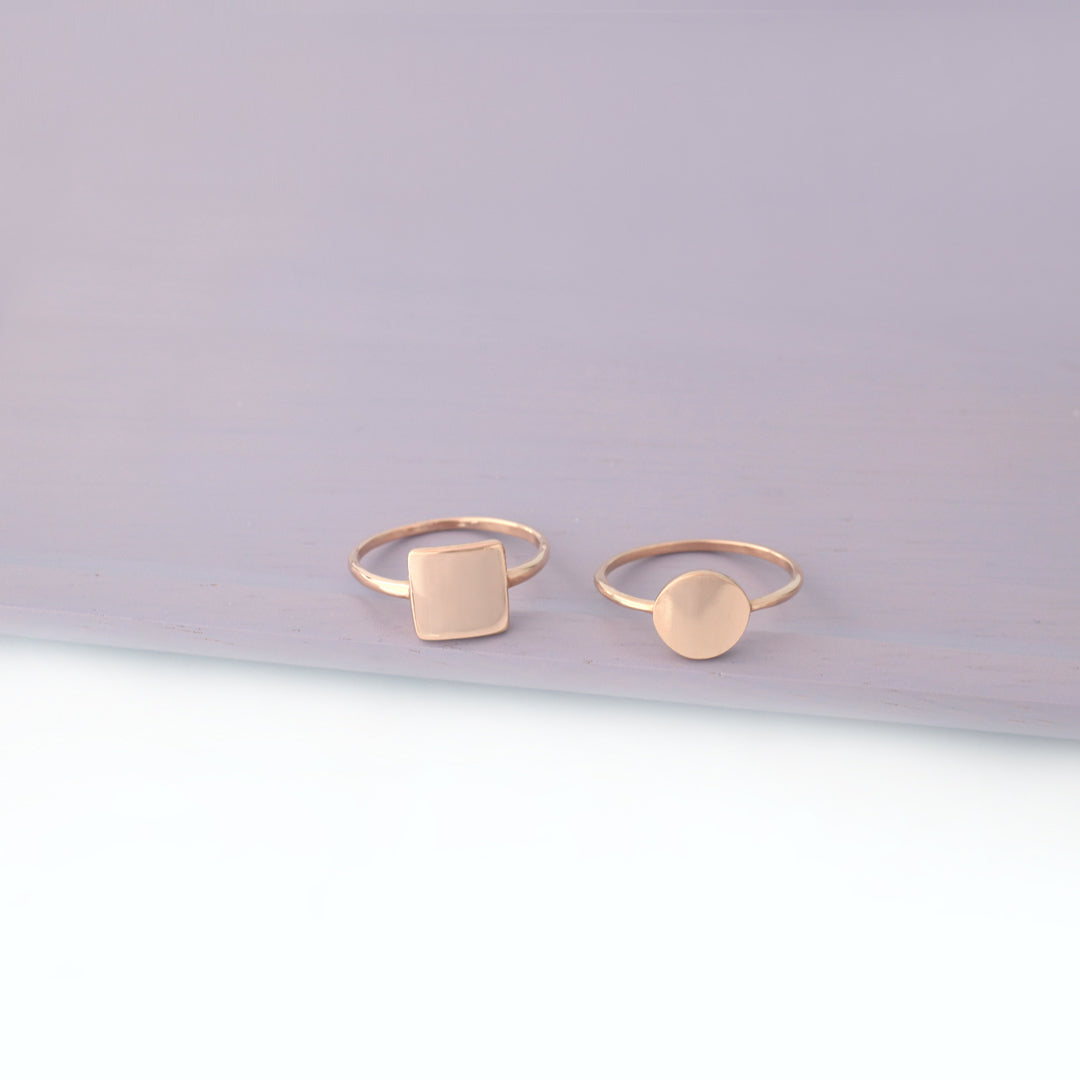 sterling silver square and circle disc rings