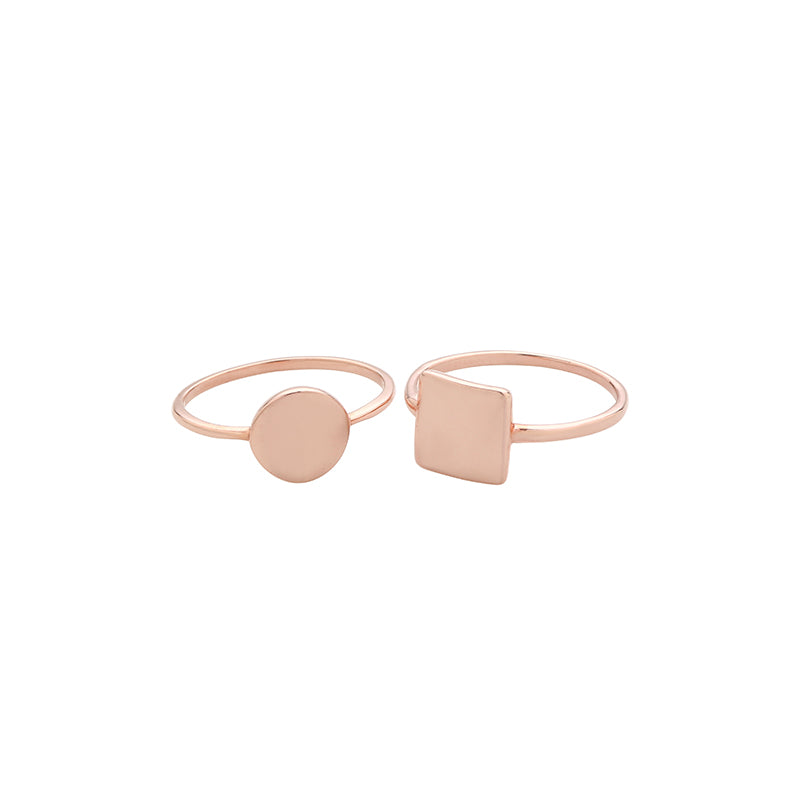 geometric circle and square rings in rose gold