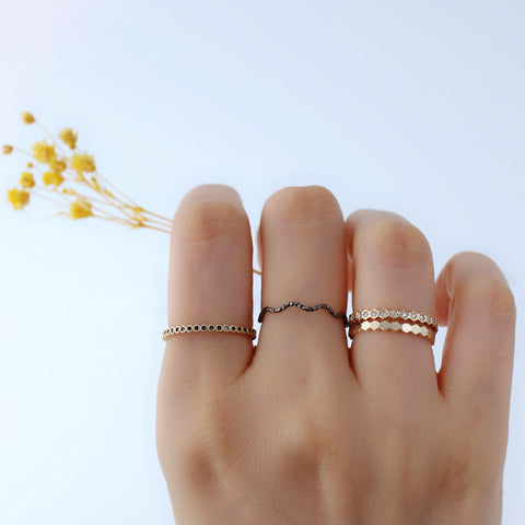gold dainty stacking rings