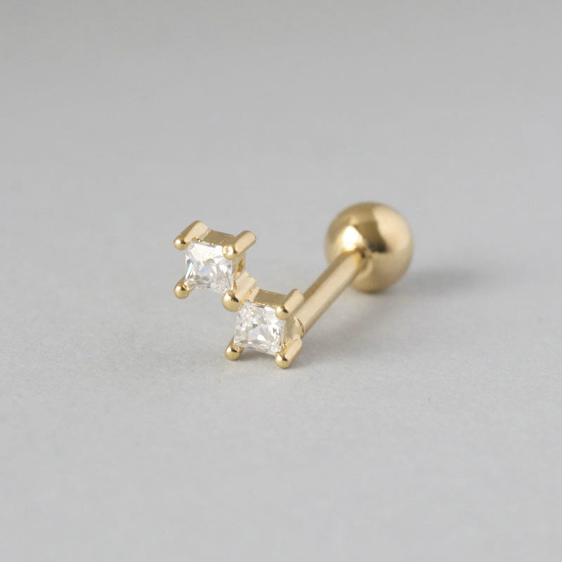 Double CZ Cartilage Piercing- Sterling Silver & 14K Gold