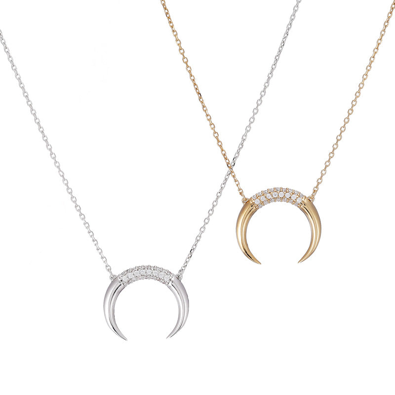 CZ Horn Necklace- Sterling Silver