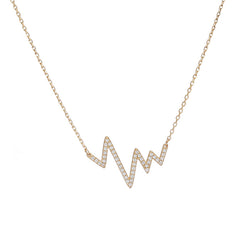 CZ Heartbeat Necklace- Sterling Silver