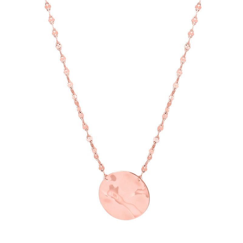 Hammered Coin Necklace in Rose Gold