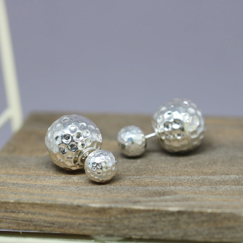 Hammered Double Ball Stud Earrings