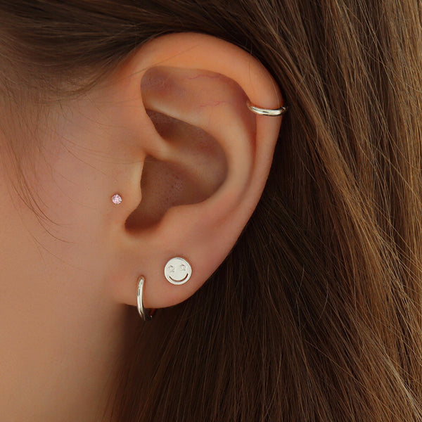 Smile Face Stud Piercing- Sterling Silver