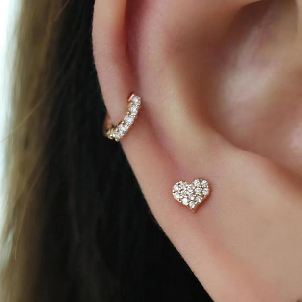 a heart and tiny hoop cartilage earrings in sterling silver