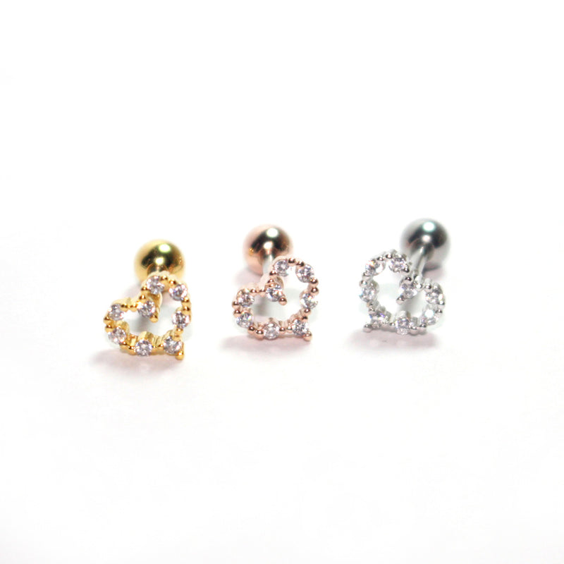 CZ Heart Cartilage Stud Earring