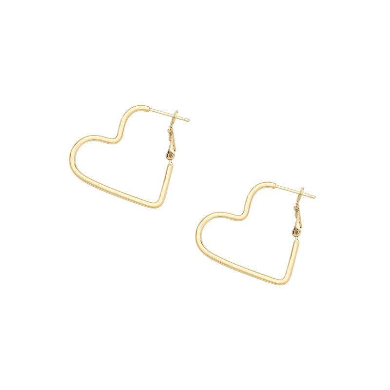 heart hoop earrings in gold
