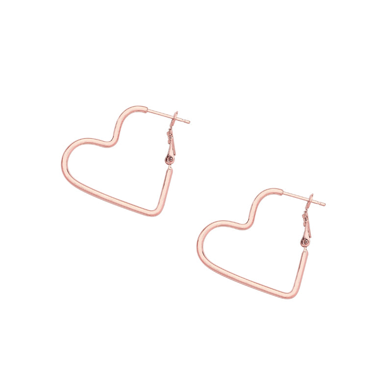 heart hoop earrings in rose gold