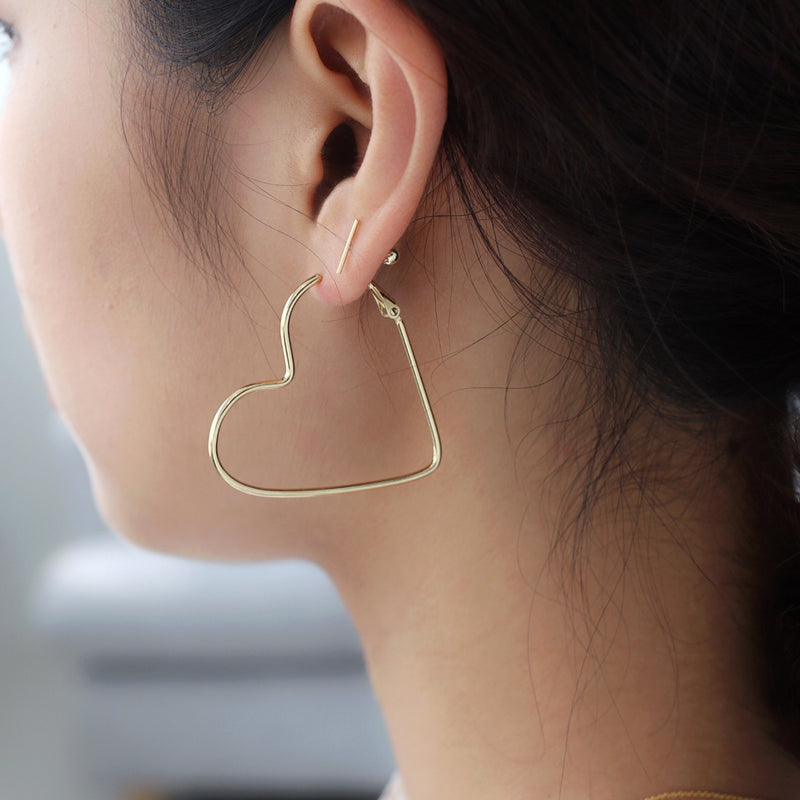 Heart Hoop Earrings- Sterling Silver