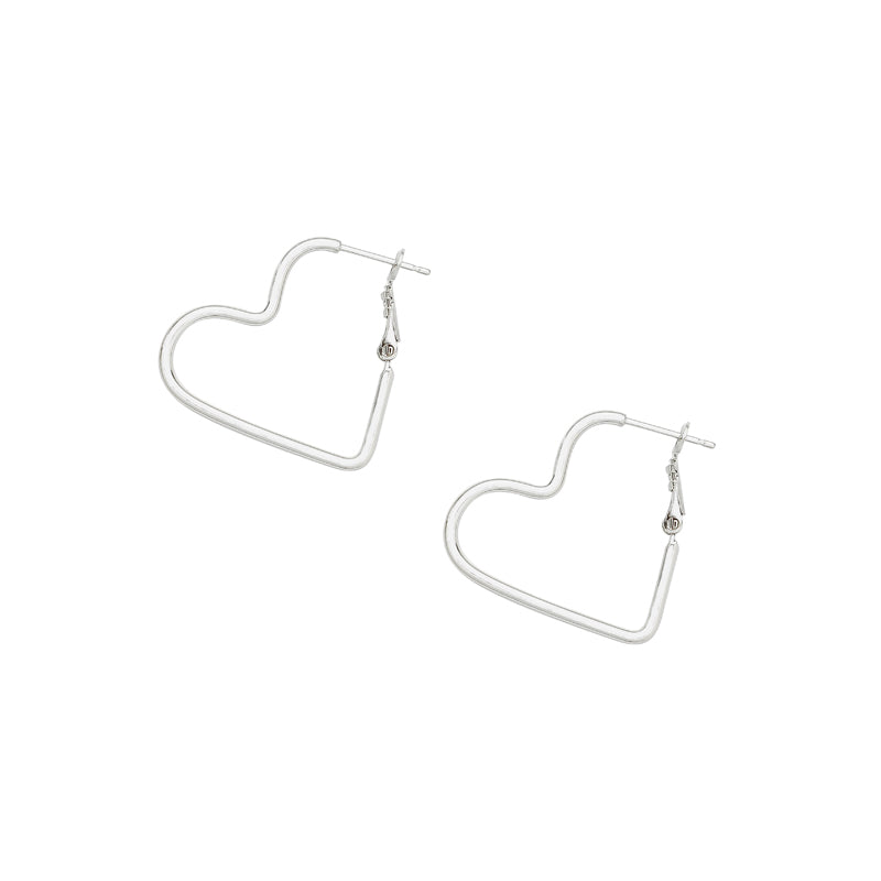 heart hoop earrings in silver