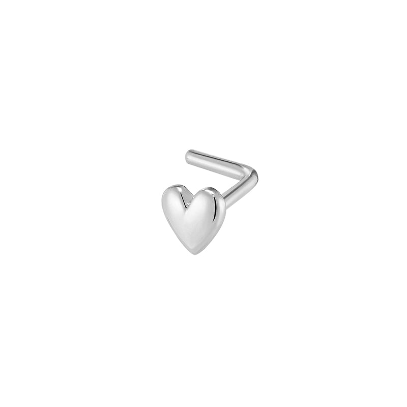 Heart L-Shape Nose Stud- 14K Gold