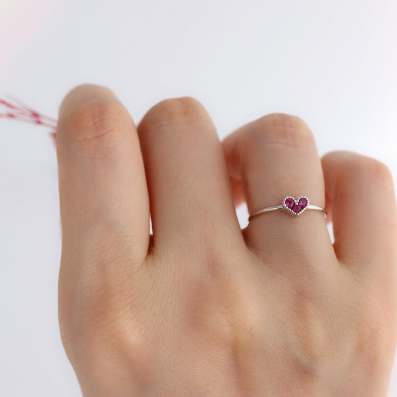 delicate silver heart ring with ruby CZ stones