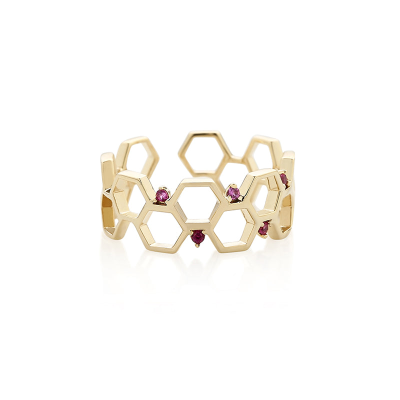 honeycomb ring made in gold plated sterling silver