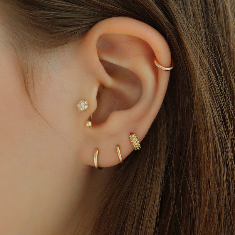 Glitter Ball Curved Barbell- 14K Gold