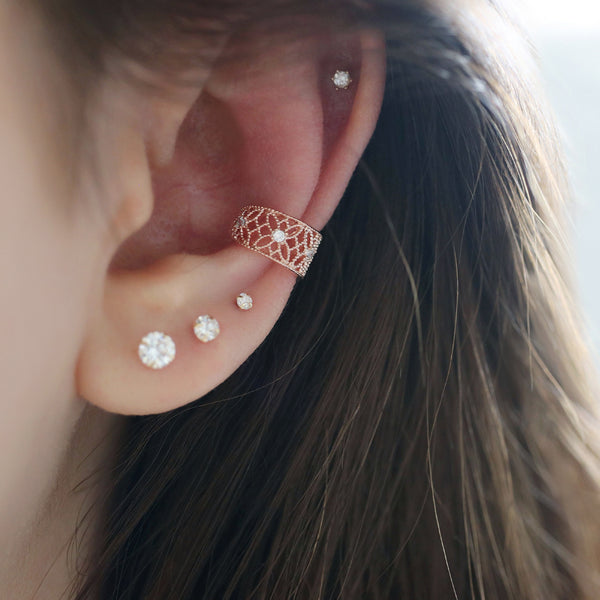 conch ear cuff stacking with ear studs