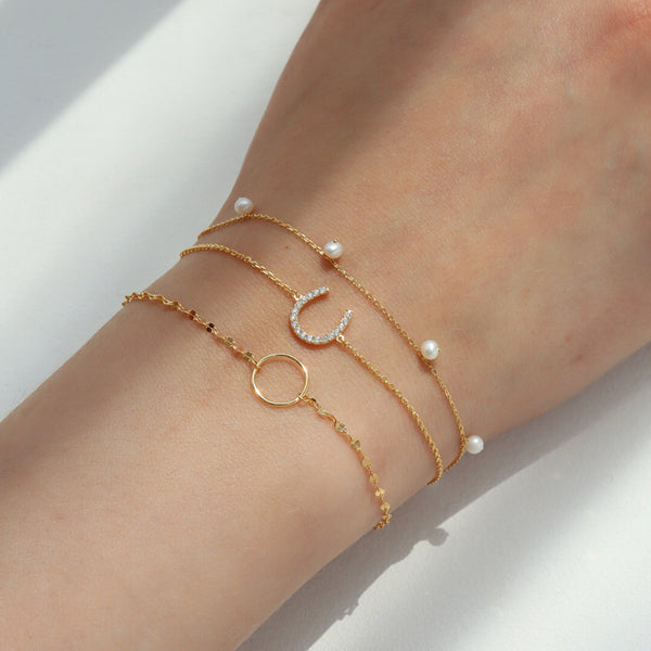Circle Highlight Chain Bracelet- Sterling Silver