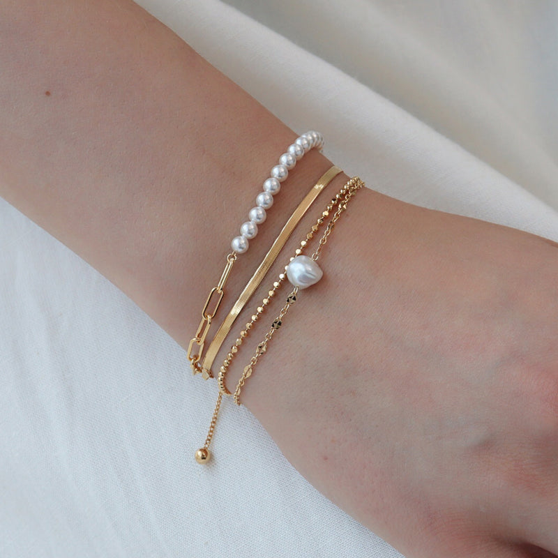 Pearl Box Chain Bracelet- Sterling Silver