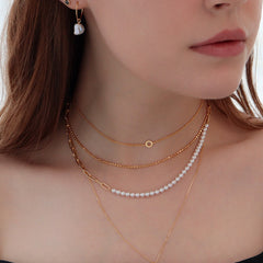 Pearl Box Chain Necklace- Sterling Silver