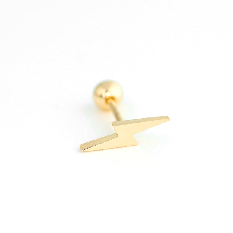 Lightning Bolt Stud Piercing- 14K Gold